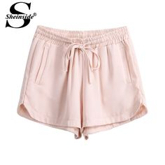 Sheinside 2014 New Arrivals Fashion Women Summer Hot Sale Apricot Elastic Drawstring Waist Straight Casual Shorts-in Shorts from Apparel & Accessories on Aliexpress.com | Alibaba Group