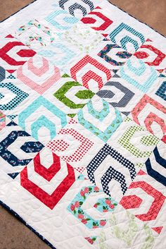 Kaleidoscope quilt pattern by Lella Boutique--made using a jelly roll. Fabric is Gooseberry by Lella Boutique for Moda. (Ships to stores October 2015.)