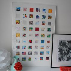 "Great way to keep your children's artwork...but not keep the clutter! Scan your child's artwork, reduce size to small squares. Print & cut out for multi-opening mat/frame. Give your kids the ""honor"" of selecting their favorites to frame."