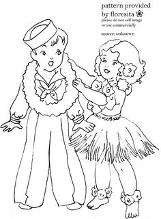 sailor boy and hula girl by floresita's transfers, via Flickr