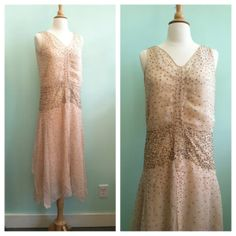 Nude Silk Chiffon & Gold Sequins 1920s Vintage Wedding Dress / Gatsby / Small - Medium / Size 4 - 8 on Etsy, $750.00