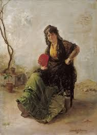 Manuel Cabral Aguado Bejarano Maja with Red Fan 1885 Spanish Costume, Spanish Art, Spanish Painters, Catholic, Art Gallery, Fan, History, Classic, Oriental