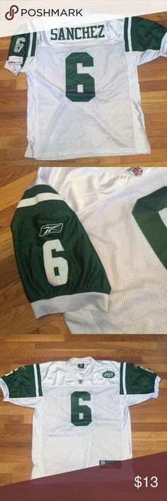 NY Jets Mark Sanchez Football Jersey White and green jets jersey - Marc Sanchez great condition size 50 (XL) Reebok Shirts