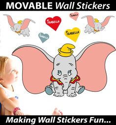 Personalised Dumbo Wall Stickers - Totally Movable