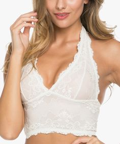 This WishList Cream Lace Longline Wireless Halter Bra by WishList is perfect! #zulilyfinds