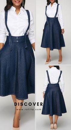 Button Detail Denim Blue A Line Skirt. Modest Dresses, Cute Dresses, Casual Dresses, Sheath Dresses, A Line Skirt Outfits, A Line Skirts, Demin Dress, Shweshwe Dresses, Sleeves Designs For Dresses