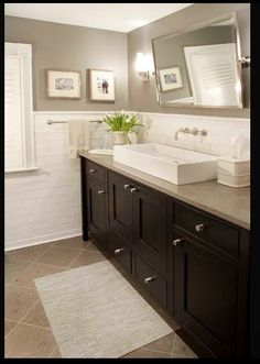 Wall color: Greige- beige neutrals- wall, vanity, floor