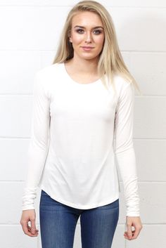 Comfy Basic U-Hem Long Sleeve {Off White}