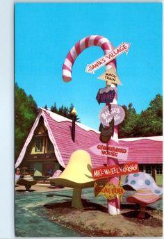 "Skyforest Lake Arrowhead California Postcard Santa's Village ""Giant Candy Cane""…"