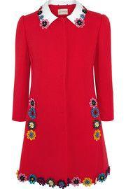 Mary Katrantzou Mason floral-appliquéd wool-crepe coat
