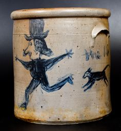 Exceptional Stoneware Crock with Dog-Chasing-Man Decoration, Ohio, circa 1860 -- Lot 197 -- October 2016 Stoneware Auction -- Crocker Farm, Inc. Antique Crocks, Old Crocks, Antique Stoneware, Stoneware Crocks, Glazes For Pottery, Ceramic Pottery, Pottery Art, Glazed Pottery, Antique Bottles