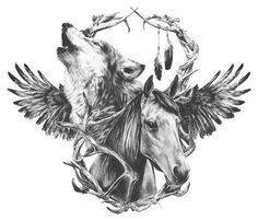 howling wolf and running horse tattoo - Google Search