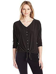 Women's Elbow Dolman Sleeve Tie Front Blouse, Black, Large