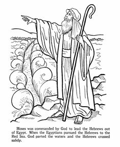 Moses Parting the Red Sea Coloring Page . 24 Moses Parting the Red Sea Coloring Page . Moses Cloroing Pages Bible Lessons For Kids, Bible For Kids, Bible Crafts, Bible Art, Bible Coloring Pages, Coloring Books, Coloring Sheets, Moses Red Sea, Isaak