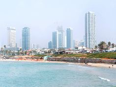Tel Aviv, Israel - Scenic View, looking north to the buildings along the beach on the Mediterranean Sea as seen from the Port of Jaffa, about 1.5 miles (2.4 km) away