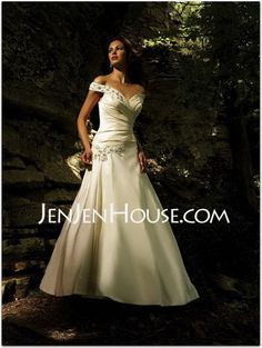Wedding Dresses - $186.99 - A-Line/Princess Off-the-Shoulder Chapel Train Taffeta Wedding Dresses With Ruffle  Beadwork (002001663) http://jenjenhouse.com/A-line-Princess-Off-the-shoulder-Chapel-Train-Taffeta-Wedding-Dresses-With-Ruffle--Beadwork-002001663-g1663