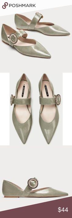 7d9a486ca0aa New Zara Green Leather Flat Shoe w Bling 40 US 9 NWT