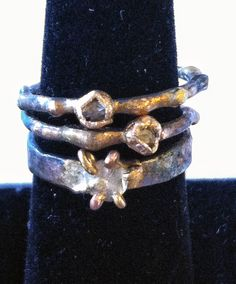 Diamonds! Rough bezel and heavy claw setting.  www.varianceobjects.com custom orders email us : info@varianceobjects.com
