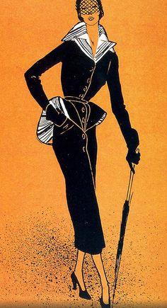 Fashion illustration by René Gruau, 1947, Jacques Fath Couture.
