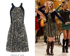Quinn is back at McKinley for the holiday season, wearing a festive sequin-print dress and knee-high boots.  Rebecca Taylor Sequin Silk Dress - $195.00 (on sale!)  Worn with: Anthropologie jacket, Børn boots