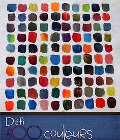 Défi des 100 couleurs - Mélanger 100 couleurs différentes en utilisant que les couleurs primaires, ainsi que le noir et le blanc, sans laver/rincer le pinceau (toutefois, essuyer le pinceau est autorisé). Aussi, les couleurs ne doivent pas se toucher, un cadre blanc doit délimiter chaque couleur appliquée. Ainsi, il est nécessaire de dessiner 100 cases sur la feuille ou le carton qui sera utilisé pour le projet (Ces lignes guides pourront ensuite être effacées).