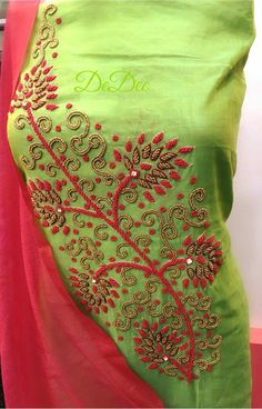 Embroidery On Kurtis, Kurti Embroidery Design, Embroidery Neck Designs, Beaded Embroidery, Salwar Neck Designs, Dress Neck Designs, Kurta Designs Women, Blouse Designs, Maggam Work Designs