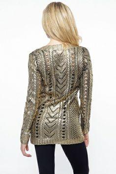 Gold Foil Knit Sweater