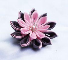 This+Kanzashi+flower+is+made+from+grey+and+light+pink+silk+polyester+fabric,+centered+with+silver+tone+bead+caps+and+10mm+pink+acrylic+rhinestone.+  Diameter+of+flower+is+7+cm+(about+2,7+inches).+    this+flower+can+be+mounted+on+25mm+brooch+pin+or+46mm+hair+clip.+Please+specify+which+hardware+yo...
