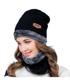 518e96317d54b6 2-Pieces Winter Knit Hat and Circle Scarf with Fleece Lining- Warm Beanie  Cap for Women Black CP186XYSLIO