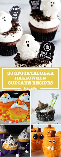 Serve These Spooktacular Halloween Cupcakes at This Year's Party There's no such thing as too much sugar on Halloween. Cook up these sweet cupcakes to charm all your friends and family this time around. Halloween Desserts, Halloween Cupcakes, Spooky Halloween, Halloween Goodies, Halloween Food For Party, Halloween Crafts, Halloween Stuff, Halloween Costumes, Halloween Baking