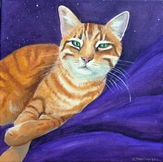 Hunter - a painting of a big stripey orange cat... very like the chap we had when I was growing up.