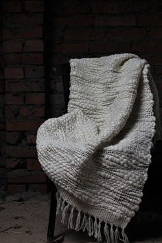 Textured Wool throw blanket Woven decorative blanket wool