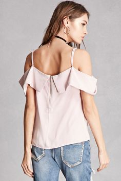 A woven top featuring an open-shoulder design, a foldover neckline creating the short sleeves, adjustable cami straps, and an exposed back zipper. This is an independent brand and not a Forever 21 branded item.