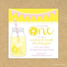 Cute PRINTED Lemonade Birthday Party Invitation: lemonade sunshine mason jar lemon bunting banner pink yellow lace one two