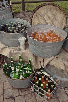 Barn wedding drink bar / http://www.deerpearlflowers.com/rustic-buckets-tubs-wedding-ideas/