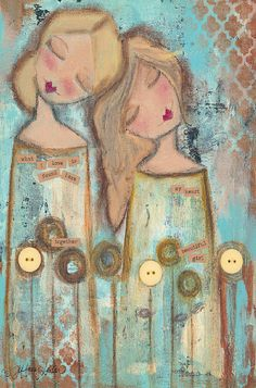 'Beautiful Girl' Whimsical Girls Canvas