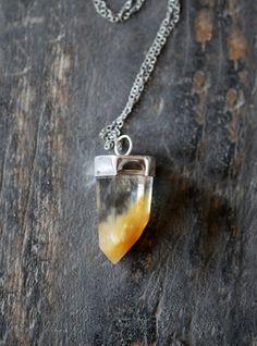 Orange Ombre Quartz Crystal Pendant by dollybirddesign on Etsy, $185.00