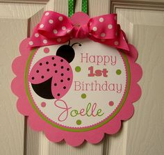 Little Lady- Pink and Green Ladybug Welcome Sign