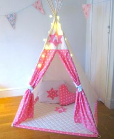 pink curtain fabric for teepee and heart shaped pillow