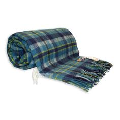 100% PURE NEW WOOL TARTAN RUG - WOVEN IN EDINBURGH, SCOTLAND - BLUE in Home, Furniture & DIY, Bedding, Blankets | eBay