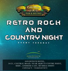 Every ‪#‎TuesdayNight‬. It's Retro, Rock & Country Night. Have a good time at Cafe Mojo Mumbai ‪#‎PartyInMumbai‬ #Pubs #Party #Beer #Fun #Beers #Enjoy #GoodTimes #OntheBar  #Parties #PartyMusic #DrinkLocal #Music #Dance #Pub #Drinks #EatLocal  #BeerDrinks #Mumbai  #OnthePub.