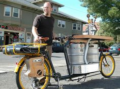 The Beer Bike was designed and created by Hopworks Urban Brewing of Portland, Oregon, and features two kegs and taps, plus a hot pizza storage unit. Impressive, but I can't even imagine pedaling two full kegs of beer around. Beer Bike, Bicycle Bar, Portland Beer, Portland Oregon, Green Design, Velo Cargo, Bike Builder, Unicycle, The Next Big Thing