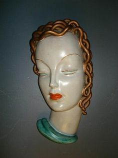 View Wall mask by Goldscheider Co. Browse upcoming and past auction lots by Goldscheider Co. Goldscheider, Vintage Ornaments, Art Deco Design, Woman Face, Ceramic Art, Terracotta, Deco Wall, Ceramics, Sculpture