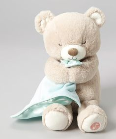 Look what I found on #zulily! Gray & Mint Lullaby Bear Plush Toy With a squeeze of its furry foot, this cuddly plush pal lulls little sleepyheads off to dreamland with a soothing tune.  Includes plush toy and AAA batteries 8.5'' H Polyester Imported   #zulilyfinds