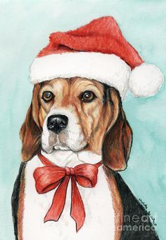 Pet Drawing - Beagle Christmas by Charlotte Yealey