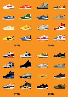 "Nike through the ages ...""I'm a Nike head, I wear chains that excite da Feds.""         Nas"