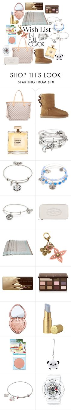 """""""Wish List 2017"""" by christinemusal ❤ liked on Polyvore featuring Louis Vuitton, UGG, Chanel, Alex and Ani, Too Faced Cosmetics, TheBalm, TONYMOLY, Hello Kitty, G-Shock and WishList"""