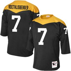 Mitchell and Ness Pittsburgh Steelers Men's #7 Ben Roethlisberger Elite Black Home 1967 Throwback NFL Jersey