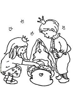 Coloriage d'un prince et d'une princesse qui s'occupent en même temps de leur petit frère