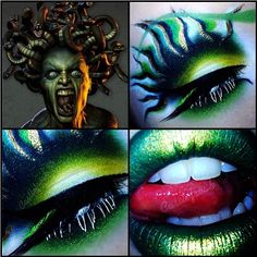 sugarpillmakeup: Badass Medusa-inspired look by @Debbie Arruda Arruda Davenport using #Sugarpill Midori, Acidberry, Buttercupcake, Tako and Goldilux. We think she's freaky and we like her a lot! #makeupart #medusa